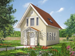 Схема кирпичного загородного дома № F-076-1S