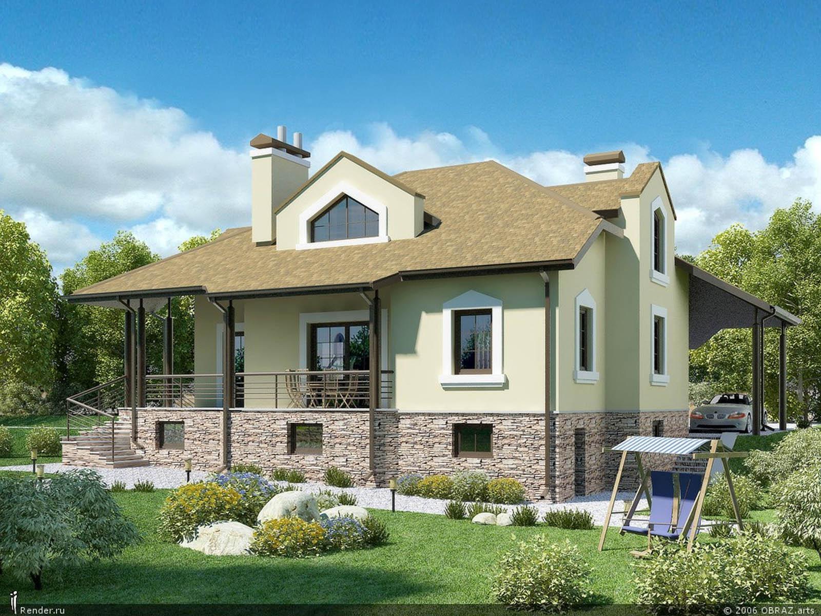 Дизайн частного дома с высоким фундаментом
