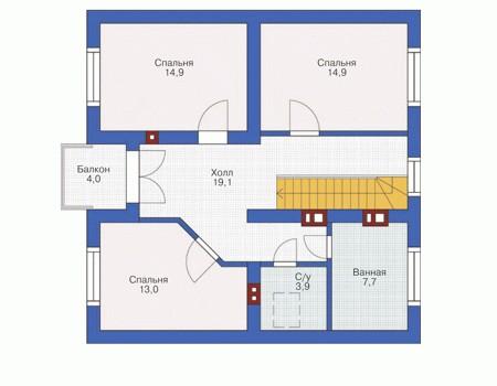 Кирпичный жилой дом планировка № 54 22
